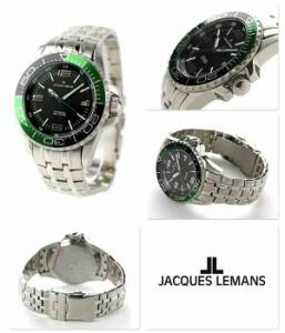 ジャックルマン リバプール ダイバー 20気圧防水 自動巻き 1-1353E JACQUES LEMANS 腕時計 ブラック×グリーン