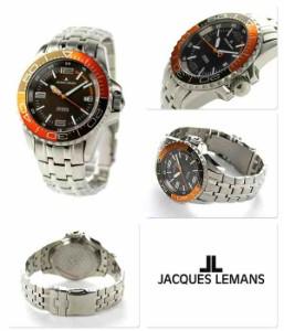 ジャックルマン リバプール ダイバー 20気圧防水 自動巻き 1-1353G JACQUES LEMANS 腕時計 ブラウン×オレンジ