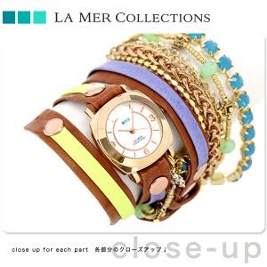 【あす着】ラメール コレクション レザー レディース 腕時計 LMMULTI2004 LA MER スペシャリティ クリスタル ラップ
