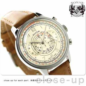 ゾンネ ヒストリカルコレクション クロノグラフ メンズ HI001SV SONNE 腕時計 アイボリー×キャメル