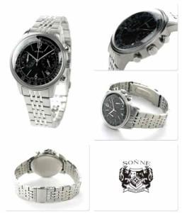 【あす着】ゾンネ ヒストリカルコレクション クロノグラフ メンズ HI002BK SONNE 腕時計 ブラック