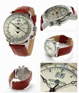 ツェッペリン 100周年 限定モデル デュアルタイム メンズ 7640-1BO Zeppelin 腕時計 クオーツ シルバー×レッド