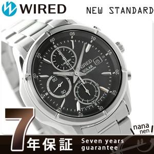 【あす着】セイコー ワイアード ソーラー クロノグラフ メンズ 腕時計 AGAD057 SEIKO WIRED ニュースタンダード ブラック