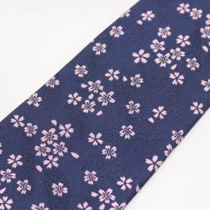 【富士桜工房】紺・桜花・日本製シルクジャカードの和風ネクタイ