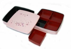 【送料無料】桜 ピンク 2段オードブル重、仕切り、タッパー付き001-063-83(重箱 、オードブル、お弁当箱、ランチボックス、漆器、お花