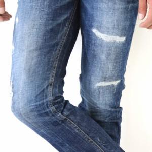 やりすぎない絶妙ダメージが大人の上品さを際立たせる!メンズダメージテーパードデニム ジーンズ パンツ ボトムダメ