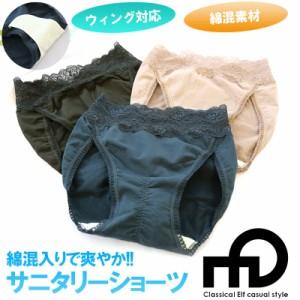 綿混サニタリーショーツ同色2枚 ウィング 羽根つき 対応 メッシュ 生理用パンツ サニタリーパンツ ノーライン フルバックショーツ M L