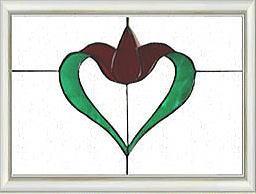 ◆教会を思わせるゴシック調【ステンドグラス】!!白枠パネル 59×45