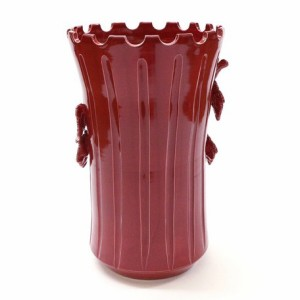 【イタリア製】陶器傘立て(ブドウ・赤)
