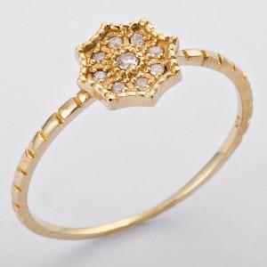 K10イエローゴールド 天然ダイヤリング 指輪 ダイヤ0.06ct 8号 アンティーク調 フラワーモチーフ