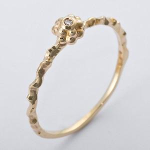 K10イエローゴールド 天然ダイヤリング 指輪 ダイヤ0.01ct 12号 アンティーク調 フラワーモチーフ