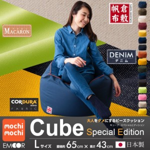 ビーズクッション スペシャルエディション「人をダメにする クッション」もちもちシリーズ キューブ/Lサイズ 【送料無料】日本製
