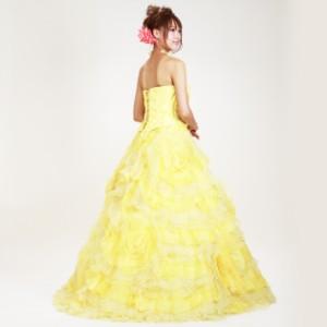 【カラードレス レンタル,9号-13号】【プリンセスライン/黄色】お色直し,披露宴 7323 【往復送料無料】