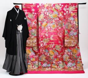 【打掛 レンタル】【色打掛】【紋付袴】ピンク色 梅花 ショッキングピンク 花柄 NT-825【往復送料無料】