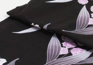 【浴衣 レンタル】nt-y026 浴衣3点セット☆浴衣・帯・下駄☆黒色/すずらん