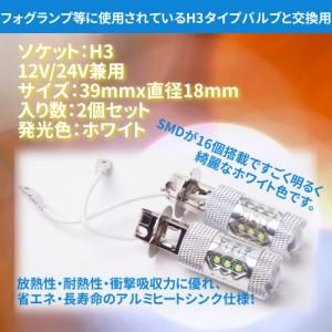 12V/24V H3 爆光LEDフォグランプ 80W 2個セット ホワイト