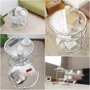テーブル ガラス ガラステーブル ラウンド 丸 円形 円 ミニ 小型 ラウンドテーブル 50 3段 ローテーブル サイドテーブル サイド ガラス机