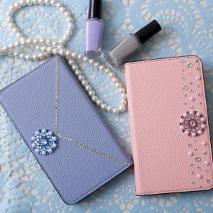 スマホケース iPhone8 手帳型 スマホカバー 全機種対応 アイスクリームカラー アネモネフラワー スライド ベルトなし SO-01G
