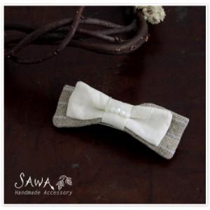 ポイント10倍♪【SAWA サワ】 コットン リネン リボン バレッタ(te-ba-4)