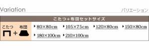 こたつセット 長方形 2点セット 楢ラウンドこたつ 120×80cm+国産北欧柄こたつ布団 折りたたみ おしゃれ