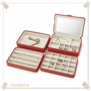 アクセサリーケース ジュエリーボックス 4段 鏡付き 指輪 ピアス収納ボックス