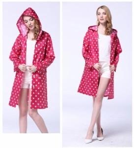 レディースレインコート ドット コート 雨具 防水 雨 レインウェア 実用 雨の日 レインコート ロング 帽子付き ポケット付き 折りたたみ