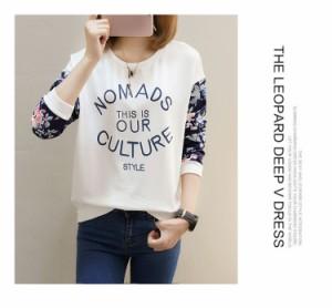 10月下旬発送 レディーストップス 新品 長袖Tシャツ 韓国ファッション 通学 普段着 体型カバー 肌触りの良い ブリント ゆったり 着回し