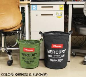 マーキュリー キャンバスバケツ バスケット ゴミ箱 小物入れ 収納 アメリカ アメリカン雑貨 サイズM ブラック_MC-MECABUMB-MCR