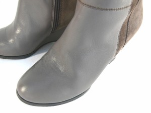 送料無料  ロングブーツ 本革 レディース 黒 ウェッジ 牛革  本皮 レザー ダブルベルトブーツ  サイドファスナー (3色)