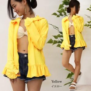 【セール】UVカット機能付き裾フリル指穴ラッシュガード /日焼け対策/紫外線対策 sw520 セール レディース 大きいサイズ