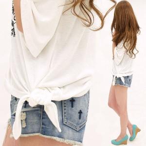 トップス Tシャツ サイドリボン5分袖オリエンタルカットソー 大きいサイズ ゆったり レディース  top1414164 メール便対応可