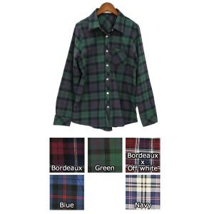 2018夏新作 チェック シャツ 大きいサイズ レディース チェック柄ネルシャツ コットン100%  top148217  春 トップス メール便対応可