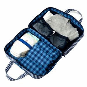 おむつポーチ バッグタイプ チェック大(綿100%)・紺 日本製 B1500400