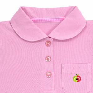 ポロシャツ(半袖) ピンク×リンゴ(刺繍入り) 日本製 N15031