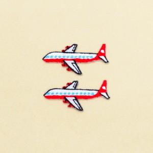 アイロン刺繍ワッペン 飛行機・ホワイト(2個セット) N6621200