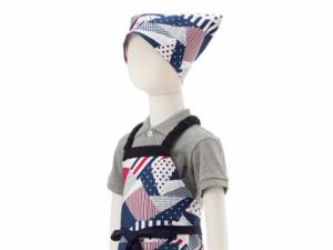 子どもエプロン(100〜120cm)  トリコロールコラージュ N1247940 子供用エプロン/キッズエプロン/三角巾/調理実習/家庭科