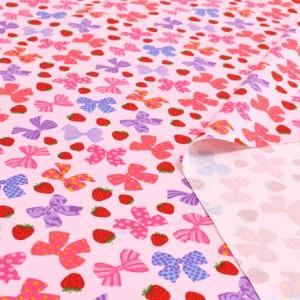 いちごとリボンで満点ラブリー(ピンク) ツイル生地 (布地タイプ) T0052900
