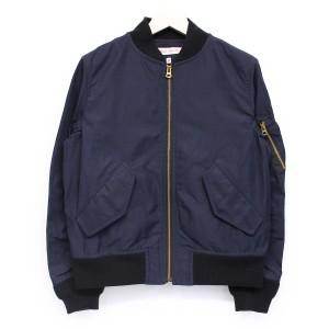 DRESSTERIOR(ドレステリア) ギャバシャンブレーMA-1ジャケット 美品 ネイビー 38(M)【K1537】【レディース】