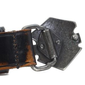 DSQUARED2 (ディースクエアード) ヴィンテージ加工ロゴバックルレザーベルト ブラウン S 【K1852】