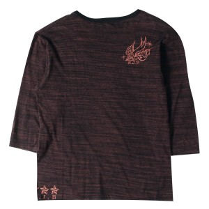 R.J.B (アールジェイビー) スパロウプリント7分袖Tシャツ ワイン×ブラック 40 【K1663】