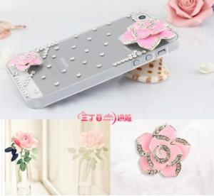 iPhone5 5sカバー iPhoneケース お花 薔薇 デコカバー ラインストーン 立体カバー  a018