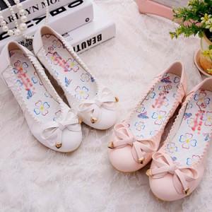 パンプス ラウンドトゥ サイドリボン付き フラットシューズ ラウンドトゥパンプス レディースシューズ シューズ 靴 ぺたんこ ぺたんこ靴