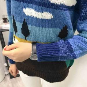 プルオーバー ニットセーター クルーネック 可愛い ニット 長袖 丸首 ニット セーター ニットトップス レディース