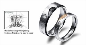 【送料無料】 リング レディース メンズ ハート キュービック ジルコニア CZ ステンレス 2色 6サイズ 結婚式 RGJ-457 【お取り寄せ商品】