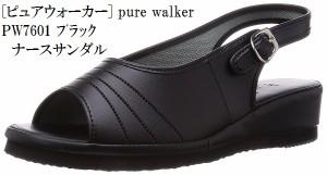 レディス (ピュアウォーカー) pure walker PW7601 ナースシューズ ナースサンダル 看護師向けシューズ やわらかインソール  軽量設計【送