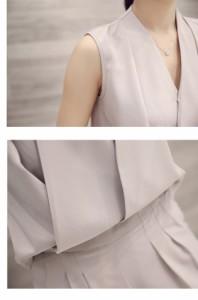 【送料無料】ワイドレッグ オールインワン ノースリーブ パンツスーツ 大人カジュアルパンツドレス 結婚式 二次会 パーティー サロペット