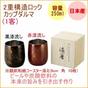 2重構造 ロックカップダルマ 1客入 250ml  (SCW)  【日本産】【ビール】【コップ】【山中塗】【シーマ】