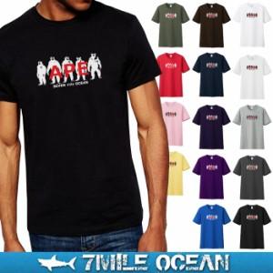 メール便 送料無料 7MILE OCEAN メンズ 半袖 Tシャツ プリント クルーネック ロゴ APE 類人猿 モンキー アメカジ ストリート 白 黒 グレ