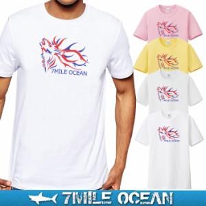 メール便 送料無料 7MILE OCEAN メンズ 半袖 Tシャツ プリント クルーネック ロゴ トリコロール 鹿 シカ アメカジ ストリート 白 黒 グレ