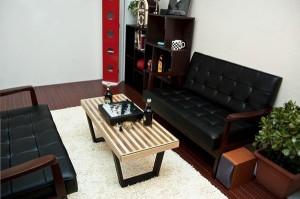 アンティーク調 ラウンジソファ 二人掛け用 ソファ PVCレザー リビングソファ 2人用 天然木フレーム